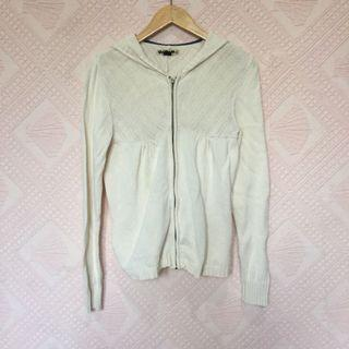 VOLCOM CREAM HOODED KNITTED JACKET XL