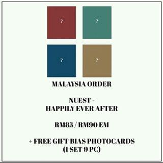 NUEST - HAPPILY EVER AFTER - PREORDER/NORMAL ORDER/GROUP ORDER/GO + FREE GIFT BIAS PHOTOCARDS (1 ALBUM GET 1 SET PC, 1 SET HAS 9 PC)