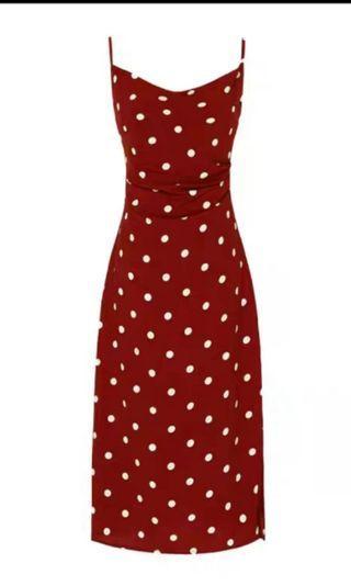 Red polka dot vintage spaghetti strap dress