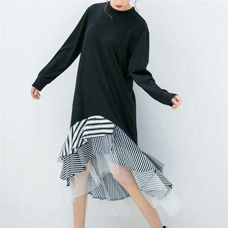 Black stripe mesh fishtail dress
