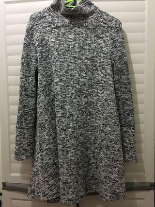 Turtle Neck Gray Dress