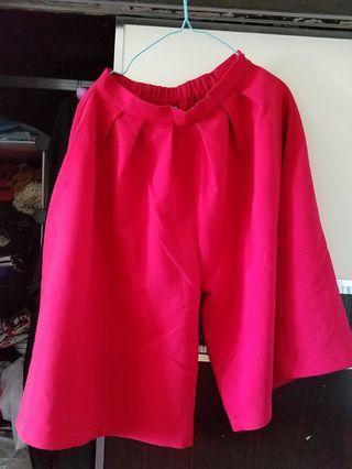 紅色七分闊腳褲