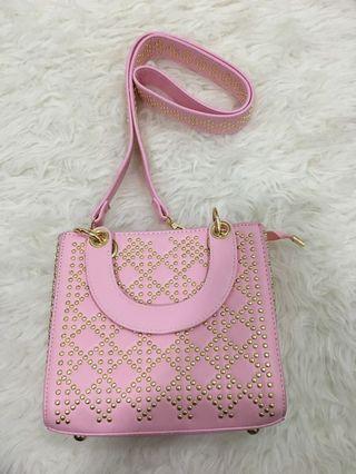 New korean style studded handbag pink