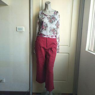 🚚 【tʃiʃi】80.90年代法國Aridza Bross印花圖案絲質透視感長袖上衣
