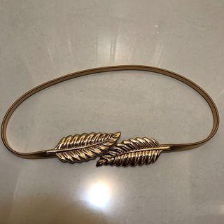 Gold metal leaf stretchy spring belt