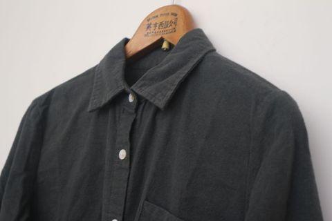 棉質襯衫|墨綠色 開扣襯衫 罩衫