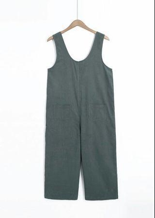全新 MO-BO 口袋造型燈芯絨直筒連身褲
