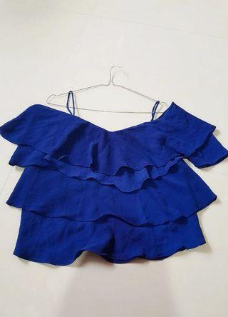 Blue sabrina ruffle top (preloved) atasan sabrina
