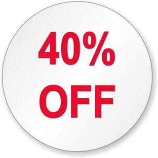 40% Off Sale ✅✅✅  I'll be joining Carousells April Super Sale.  Watch-out for my 40% off discounted items. From April 18 Thursday to April 21 Sunday only.  Payment strictly until Monday April 22 only.  Shipping Wednesday April 24.