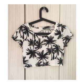 🚚 黑白椰子樹短版T恤