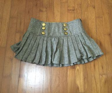 Grey brown pleated shirt Skirt