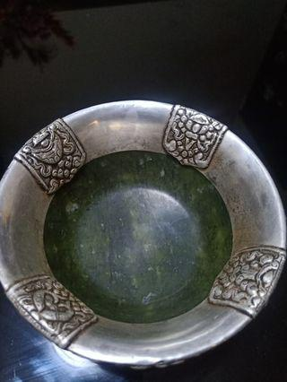Small bowl Jade antique bowl from Tibet cover by silver fine art with Coral / Torques many blessing art hand made