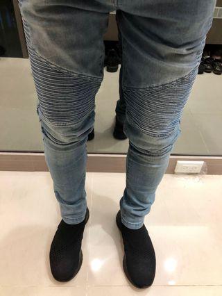 🚚 牛仔 螺紋 機車 淺藍 彈性 長褲