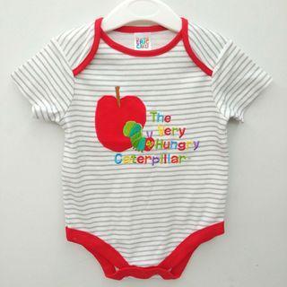 🈹✨少量✨(斷碼12-18M) the very hungry caterpillar 非常餓的毛毛蟲 出口日本 男女BB嬰兒 紅白間純棉短袖夾衣 baby bodysuit jumpsuit 全新