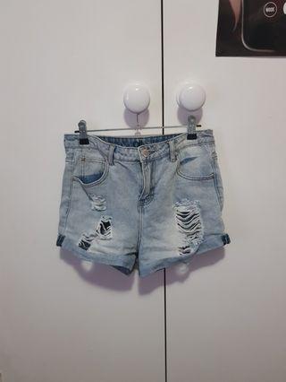Ripped Denim High Waisted Shorts