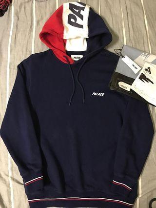 Palace navy flagin hood sweat shirt hoodie