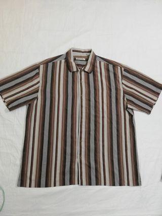 Ngu古著  (稀有品請看第二張)直條紋短袖襯衫