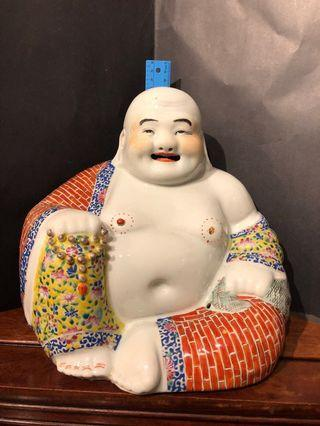 """Vintage porcelain matrieya / laughing buddha statue (旧弥勒笑佛瓷像)    Selling """"As Is"""" condition, note that one nipple has fallen off as shown in the photos."""