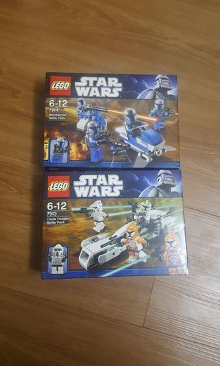 Lego Star Wars 7913 and 7914 Clone Trooper Mandalorian Battle Packs