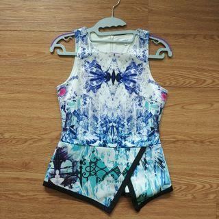 Temt Valleygirl abstract prints peplum top