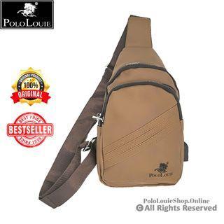Original Polo Louie Stylish USB Chest Pouch Shoulder Sling Bag Man Leather