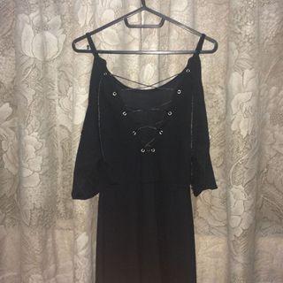 black back lace up cold shoulder dress