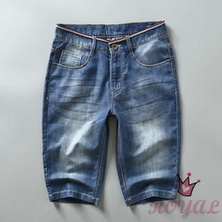 男生淺藍色牛仔5分褲 UF842