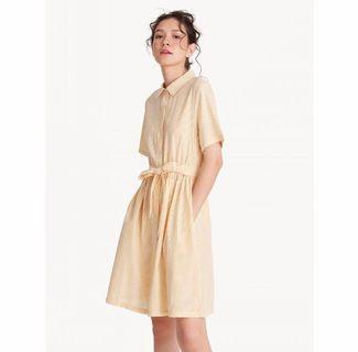 pomelo textured pinstriped tie waist yellow shirt dress (vintage look)