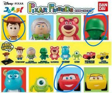 Pixar Q版扭蛋 反斗奇兵胡迪 傘兵 反斗車王麥坤