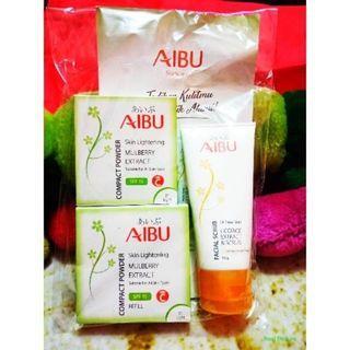 PAKET AIBU (Facial Scrub Oil Free Skin + Skin Lightening Compact Powder #01 Light + Refill)