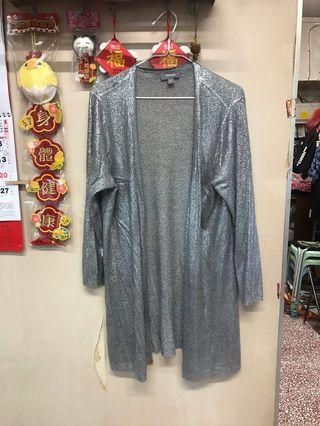 Women's knitted foil print long cardigan