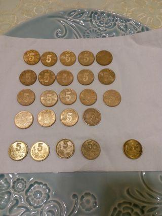 中国荷花硬币5角19枚/梅花硬币4枚/1角硬币一枚
