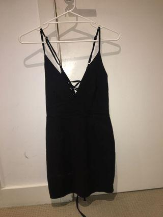 BLACK BODYCON TIE UP DRESS