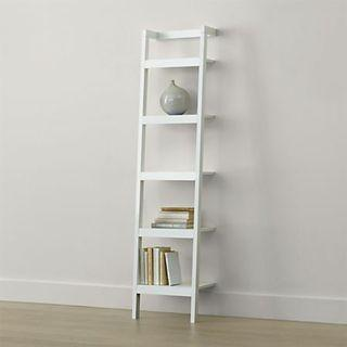 Crate and Barrel White Sawyer Leaning Shelf