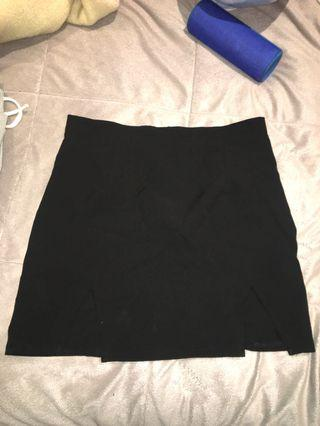 black mini skirt w slits