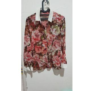 Atasan kemeja bunga floral summer pink HIGH QUALITY branded merk INVIO size 12 fit to M-L