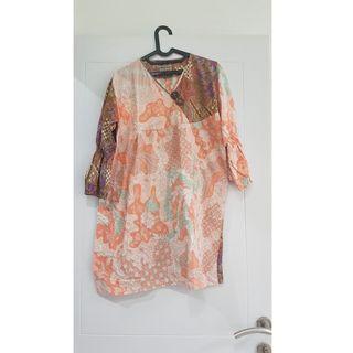 Dress Batik Size Jumbo Besar bisa ibu hamil cantik pink orange colourful pastel manis bisa kondangan kantor