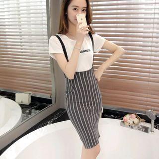 Mono-coloured Vertical Stripes Suspender Overall Dress