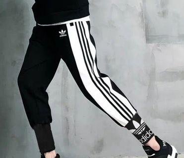 ⭕正版 香港帶回 adidas 愛迪達 黑白三槓 束口褲 縮口褲 長褲 運動褲 寬鬆