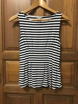 Navy white stripe peplum tank top blouse