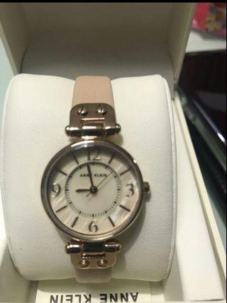 Anne Klein Mother of pearl face with leather strap