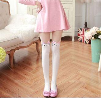 700859fd4d06 Storenvy lolita shibuya 101 pink white cat pattern stockings white tights  pantyhose girl socks