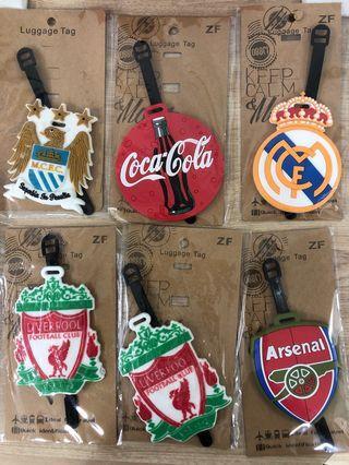 Luggage tag Liverpool, Arsenal, MCFC, Real Madrid