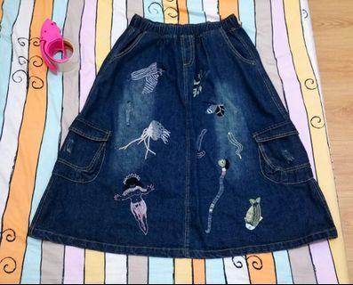 古著 日系 海底生物刺繡 兩側大口袋 藍色 牛仔裙 長裙