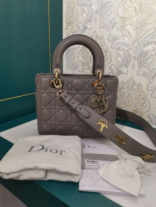 853f6a12d0e9 Like New Lady Dior Small Grey Lambskin with GHW