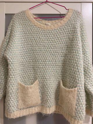 自然可愛藍綠色毛衣