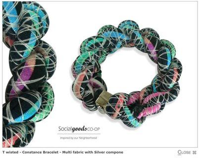 Social goods co-op Constance bracelet - multi fabric with silver compone