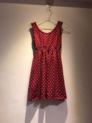 無袖復古紅底白點 米妮洋裝
