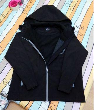 🚚 ⭕正版 古著 AIRWALK 黑色 長袖連帽外套 刷絨 貼合外套 防風防潑水