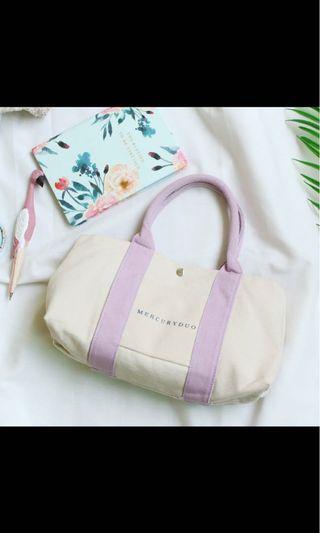 全新!日雜附包 薰衣草淺紫色帆布手提包 小包
